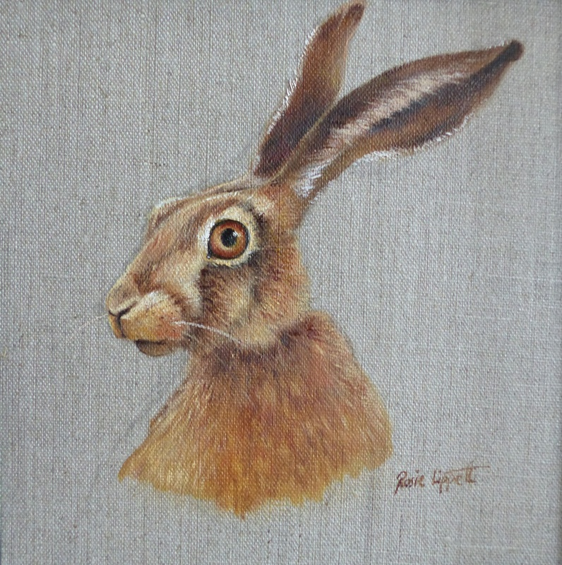 Rosie Lippett Hare to the left 8 x 8 ins £275