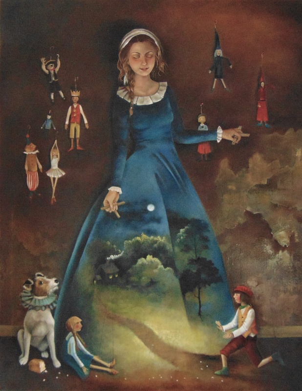 Rosie Lippett Puppeteer 36 x 28 ins £3500 The puppeteer's dress sets the stage for a performance as Hansel and Gretel. Her assistant (the dog) has stolen the bread.