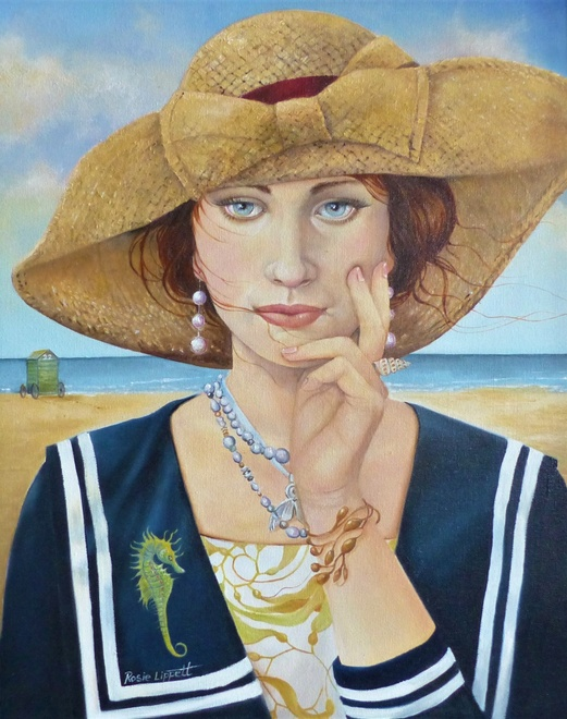 Rosie Lippett  Marina  20 x 16 ins  £1500  She is bedecked in her natural jewellery from the sea.