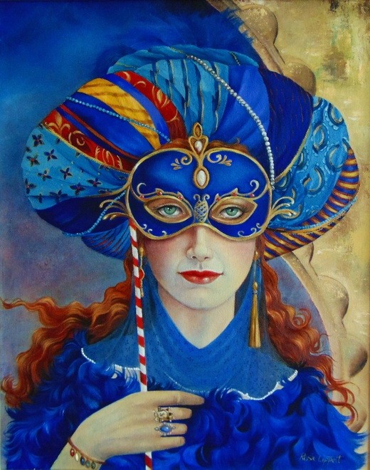 Rosie Lippett  Masquerade  20 x 16 ins  £1500  SOLD  The mask was originally worn to hide the wearer's identity and social status. They were used for a variety of purposes - some illicit or criminal and others just for personal reasons such as romantic encounters.