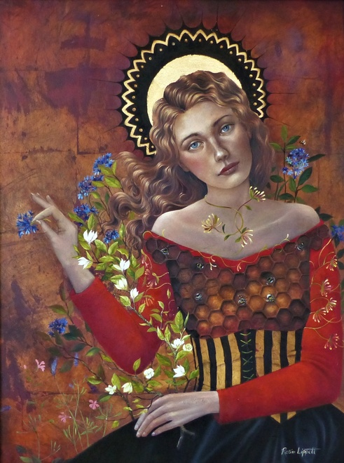 Rosie Lippett  Queen Bee  32 x 24 ins  £2950  Mother of all the bees in her hive and guardian of the honey.